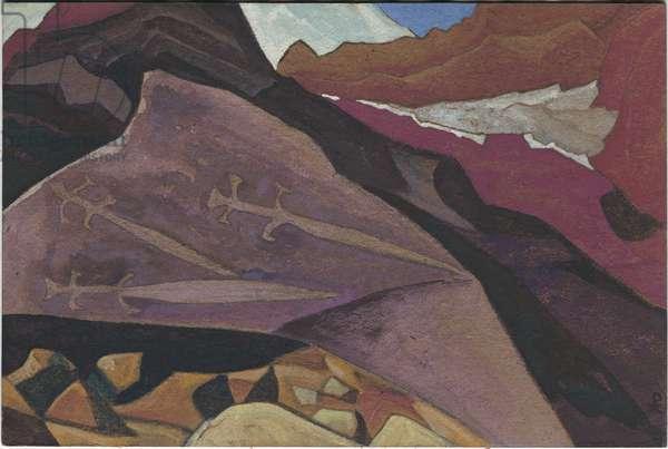 Three Glaives, Images on Rock, Lahul, 1936 (tempera on cardboard)