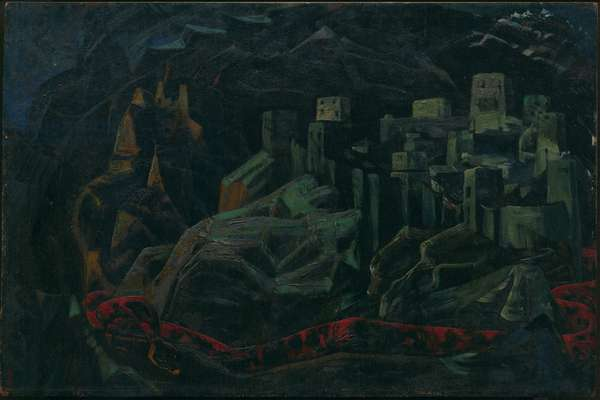 The Dead City, 1918 (oil on panel)