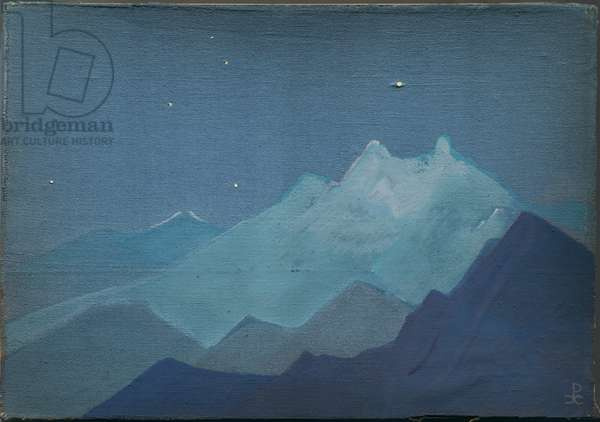 Himalayas, Moonlit Mountains, sketch, 1933 (tempera on canvas laid on cardboard)