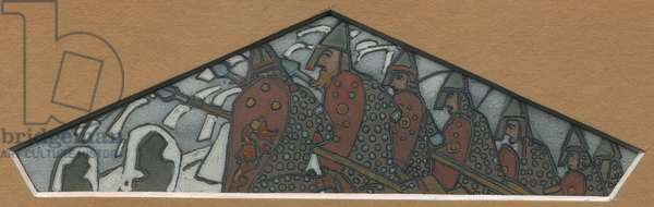 Sketch for the rightmost triangular decoration of the majolica frieze 'Northern Life', 1905 (gouache & ceruse on cardboard)