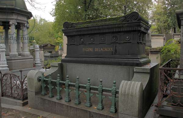 Tomb of the painter Delacroix in Pere Lachaise cemetery in Paris