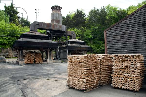 Charcoal furnace at Jack Daniels whiskey distillery in Lynchburg Tennessee  (photo)