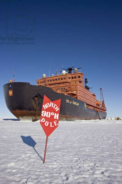 Nuclear icebreaker, 50 Years of Victory, at the North Pole (photo)