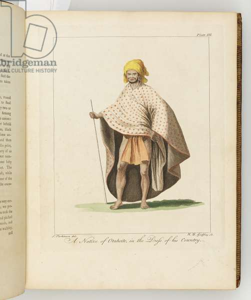 A Native of Otaheite, illustration from 'A journal of a voyage to the South Seas : in His Majesty's ship, the Endeavour', 1794 (hand-coloured engraving)