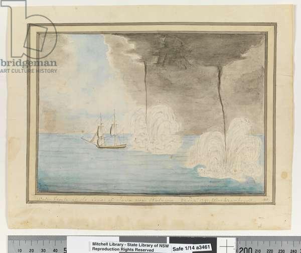 Opp. p. 290. `Water Spouts off the Coast of Java near Batavaia. 24 Sepr 1791. Waakzamheydt', c.1802 (w/c)