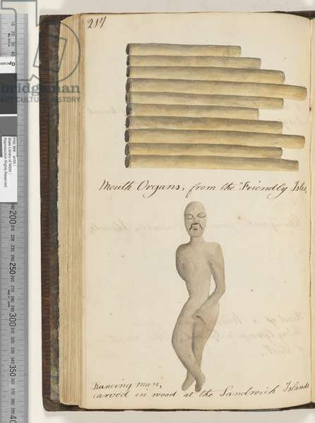 Page 217. Mouth organs, from the Friendly Isles; dancing man, carved in wood at the Sandwich Islands, 1810-17 (w/c & manuscript text)