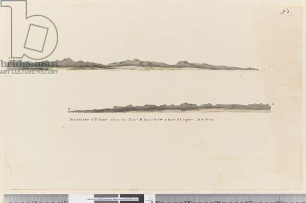 Page 3 Profile of the Island of St. Jago, Cape Verde Island. Titled The Island of St Jago where the point D bears WSW distant 3 leagues. AA joins, 1768-75 (pencil, pen & ink and wash)