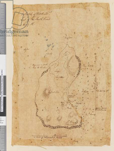 Page 37a A Sketch of Block Island, latitude of the South Head 41: 9 N, 1768-75 (pen & ink)