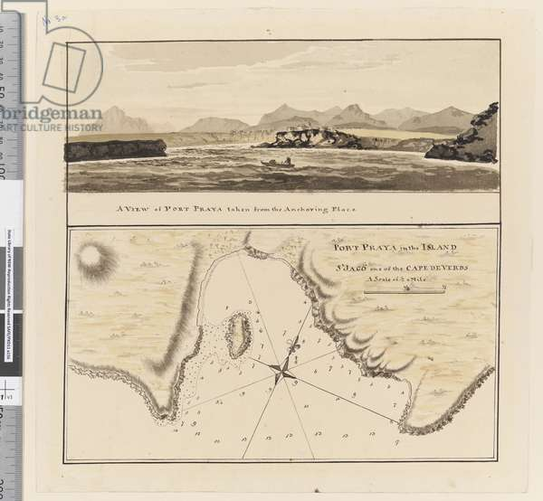 """Page 3a Chart of Port Praya in the Island of St Jago, Cape Verde Islands. Titled 'Port Praya in the Island St Jago one of the Cape de Verds sic A scale of 2\ to 1/2 a mile' / A View of Port Praya taken from the anchoring place."""", 1768-75 (w/c, pen & ink)"""
