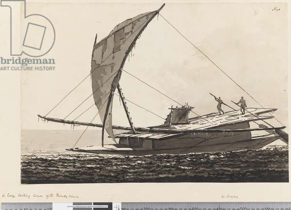 Page 20 A large sailing canoe of the Friendly Islands, 1768-75 (pen & ink and wash)