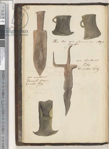 Page 30. Untitled: axeheads these two were found in a bog at Geashil; an antient Danish spear, 9 inches long; an antient pike; untitled: axehead, 1810-17 (w/c & manuscript text)