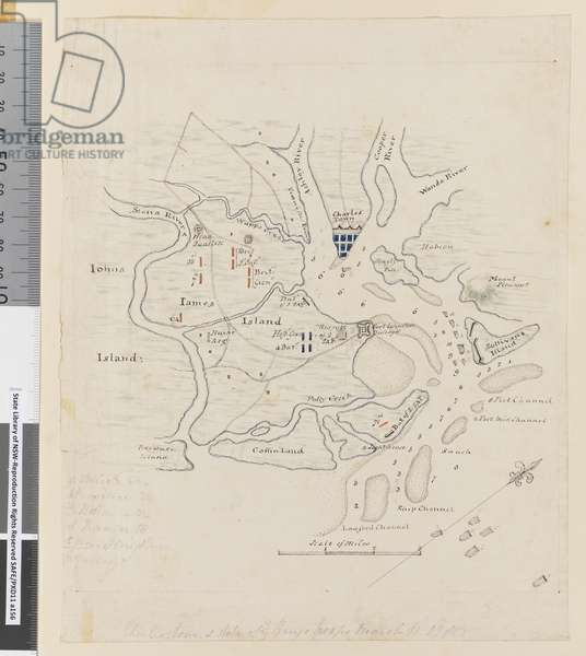 Page 37b Map of Charlestown and state of the Kings troops, March 11 1780 (pencil, pen & ink)