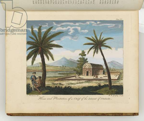 House and plantation of a chief of the island of Otaheite, illustration from 'A journal of a voyage to the South Seas : in His Majesty's ship, the Endeavour', 1794 (hand-coloured engraving)