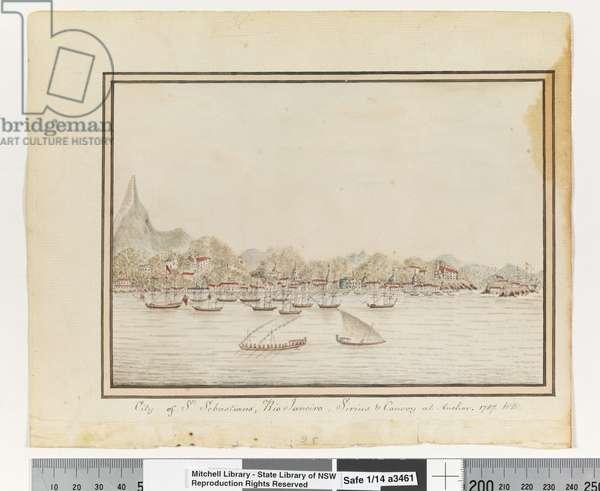 Opp. p. 37. `City of St. Sebastians, Rio Janeiro: Sirius & Convoy at Anchor. 1787' (Call No.: ML Safe 1/14 o), c.1802 (w/c)