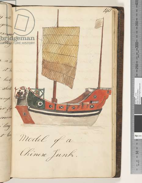Page 140. Model of a Chinese Junk, 1810-17 (w/c & manuscript text)