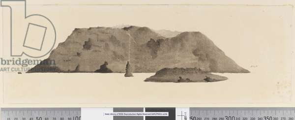 Page 3b View of unidentified island. In ink on left hand side 'N by E' and on right hand side 'E by N', 1768-75 (pen & ink and wash)