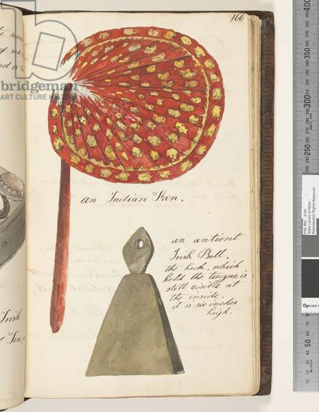 Page 166. An Indian fan; an antient Irish bell, 1810-17 (w/c & manuscript text)