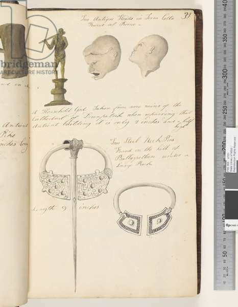 Page 31. Two antique heads in terra cotta; a household god; two steel neck, pins, 1810-17 (w/c & manuscript text)