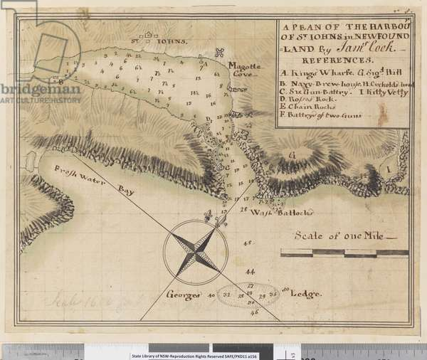 ia. A Plan of the Harbour of St Johns in Newfoundland, 1760s (pen & ink and wash)