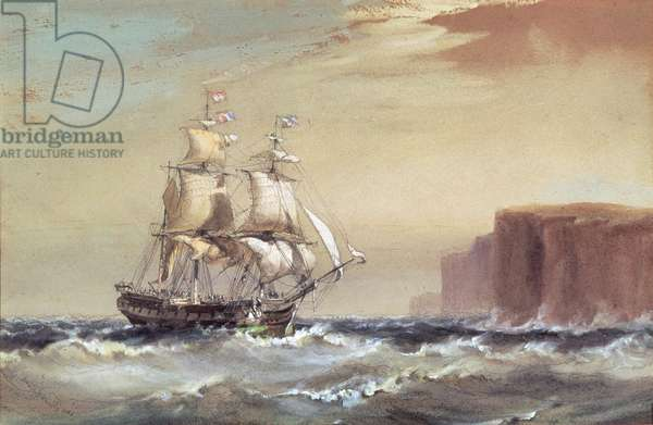 Emigrant ship arriving off Sydney Heads, 1883 (w/c)