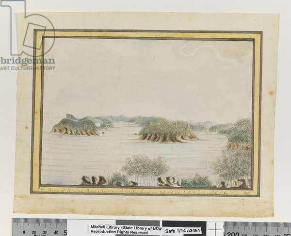 Opp. p. 93. `SW. Arm of Broken Bay New South Wales from an Island at the Entrance. Sepr 1789', c.1802 (w/c)
