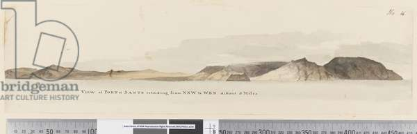 Page 4 View of Porto Santo extending from NNW to WBW distant 5 miles, 1768-75 (pen & ink and wash)