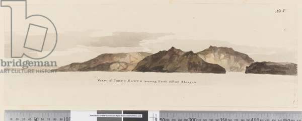Page 5 View of Porto Santo bearing North distant 2 Leagues, 1768-75 (pen & ink and wash)