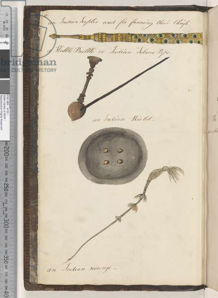 Page 6. An Indian Scepter used for fanning their Chiefs; a Hubble Bubble or Indian tobacco pipe; an Indian shield; an Indian scourge, 1810-17 (w/c & manuscript text)