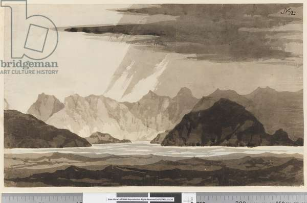 Page 32a View, possibly of Dusky Bay, New Zealand, 1768-75 (w/c)