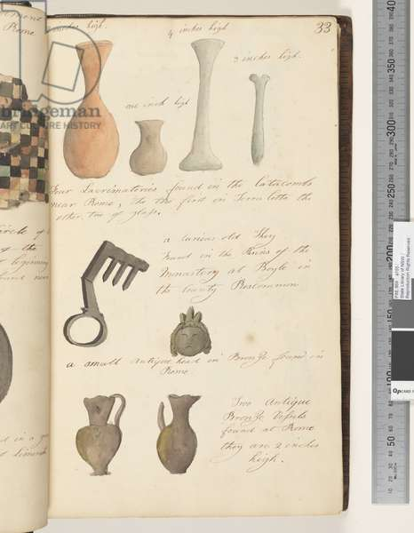 Page 33. Four lacrimatories found in the catacombs; a curious old key; a small antique head in bronze; two antique bronze vessels, 1810-17 (w/c & manuscript text)