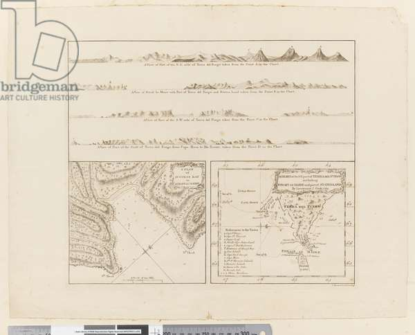 ii. (a) Four profiles of the coast of Terra del Fuego (b) A plan of Success Bay in Strait le Maire (c) A chart of the S.E. part of Terra del Fuego, engraved by T. Borven and J. Gibson, 1769 (engraving)