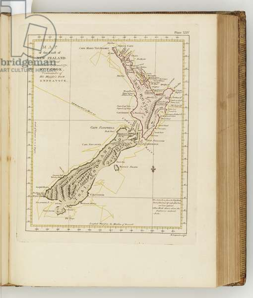Map of the coast of New Zealand, illustration from 'A journal of a voyage to the South Seas : in His Majesty's ship, the Endeavour', 1794 (hand-coloured engraving)