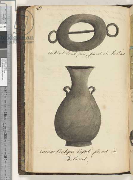 Page 169. Antient breast pin, found in Ireland; curious antique vessel, found in Ireland, 1810-17 (w/c & manuscript text)