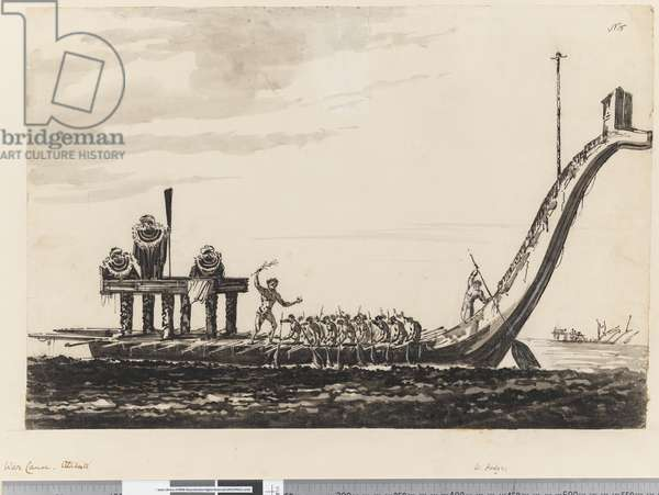 Page 15 War canoe, Otaheite, 1768-75 (pen & ink and w/c)