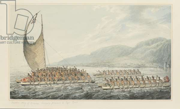 35: Tereoboo, King of Owyhee, bringing presents to Captain Cook, from a series of watercolours illustrating Captain Cook's last voyage, c.1773-84 (w/c on paper)