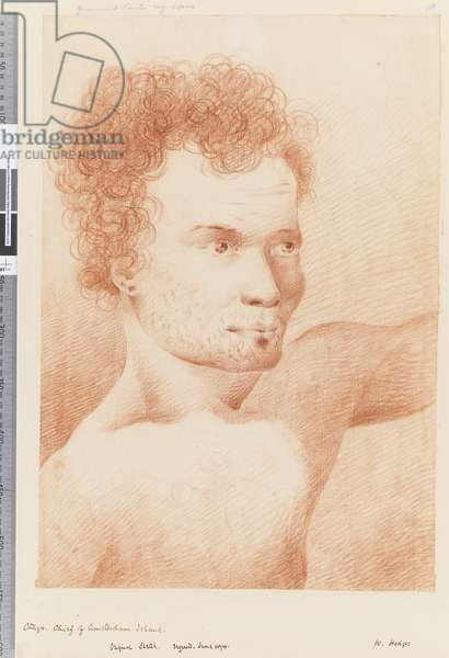 Page 24a Otago, chief of Amsterdam Island, 1768-75 (red and white chalk)