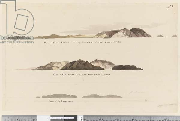 Page 8 (a) View of Porto Santo extending from NNW to WBN distant 5 miles (b) View of Porto Santo bearing north distant 2 leagues and (c) View of The Deserters, 1768-75