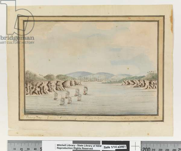 Opp. p. 56. `Botany Bay. Sirius & Convoy going in: Supply & Agents Division in the Bay. 21 Janry 1788', c.1802 (w/c)