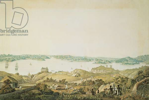 Part of the harbour of Port Jackson and the country between Sydney and the Blue Mountains, New South Wales, right section of a panoramic view, c.1821 (aquatint)