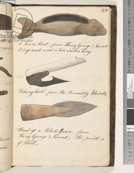 Page 216. A Sauce, boat, from King George's Sound; fishing hook, from the Friendly Islands; head of a whale spear, from King George's Sound, the point is of shell, 1810-17 (w/c & manuscript text)