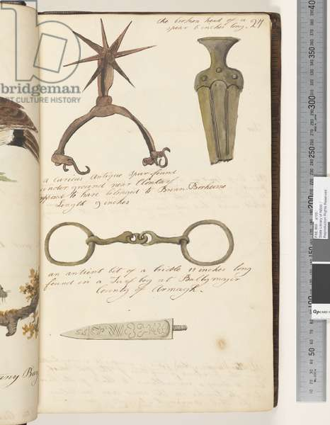 Page 27. A curious spur found under ground near Clontarf supposed to have belonged to Brian Borhoime; the broken head of a spear; an antient bit of a bridle; Untitled: decorated dagger, 1810-17 (w/c & manuscript text)