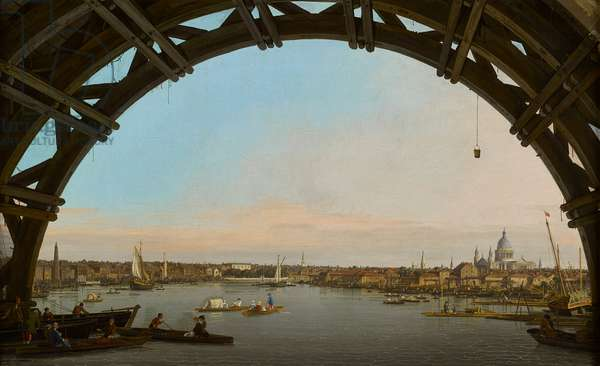 London, a view of the city from beneath Westminster bridge, 1746-47 (oil on canvas)