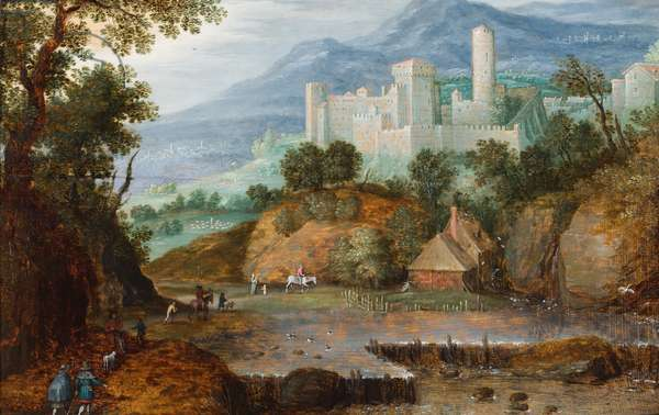 A mountainous landscape with travellers approaching a castellated building with a round tower (oil on panel)