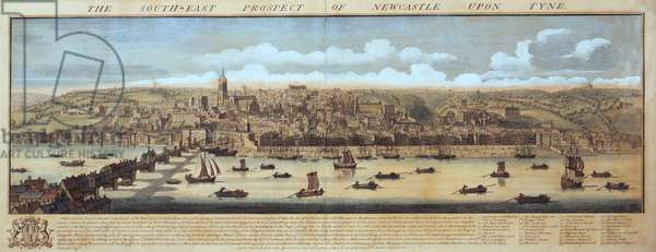 The South East Prospect of Newcastle Upon Tyne, 1745 (coloured engraving)