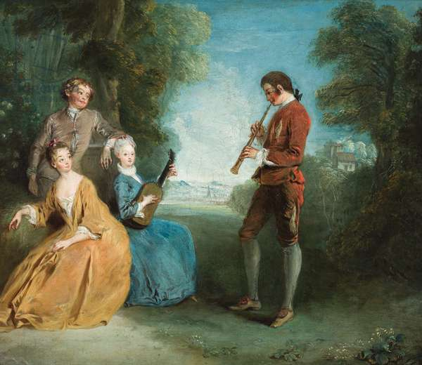 Two pairs of lovers, one pair making music, in a parkland setting (oil on canvas)