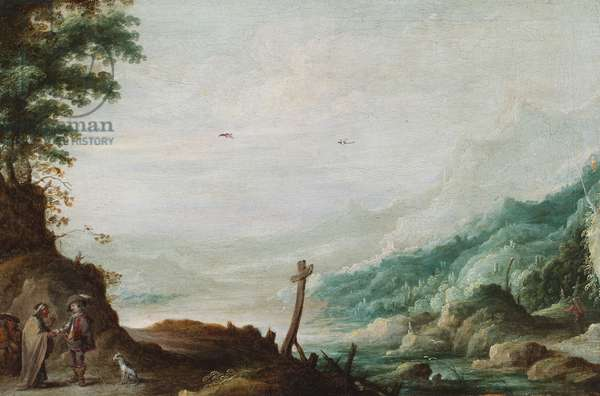 A mountainous river landscape with a fortune teller (oil on panel)