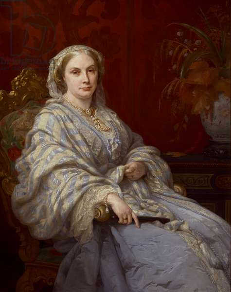 Portrait of Louisa, wife of Algernon, 6th Duke of Northumberland, three-quarter length, wearing a blue dress and blue and white striped shawl, 1877 (oil on canvas)