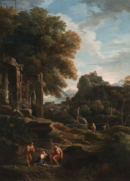A classical landscape with figures in the foreground, ruins to the left and a figure in the centre making a sacrifice (oil on canvas)