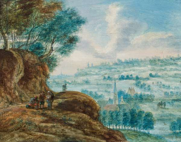 Figures on a roadway above an extensive landscape (oil on panel)