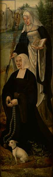 Saint Monica and a donor, one wing of an altar piece (oil on panel)